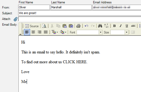Our email before the HTML is applied